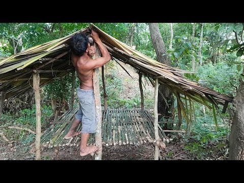 Primitive Technology, Bamboo bed shed with leaf roof