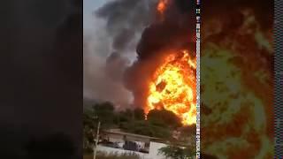 Blast ! Accident !  Fire at petrol pump.