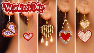 Valentine's day special|5 easy Heart shape Earring Design|5 min Craft|handmade jewelry