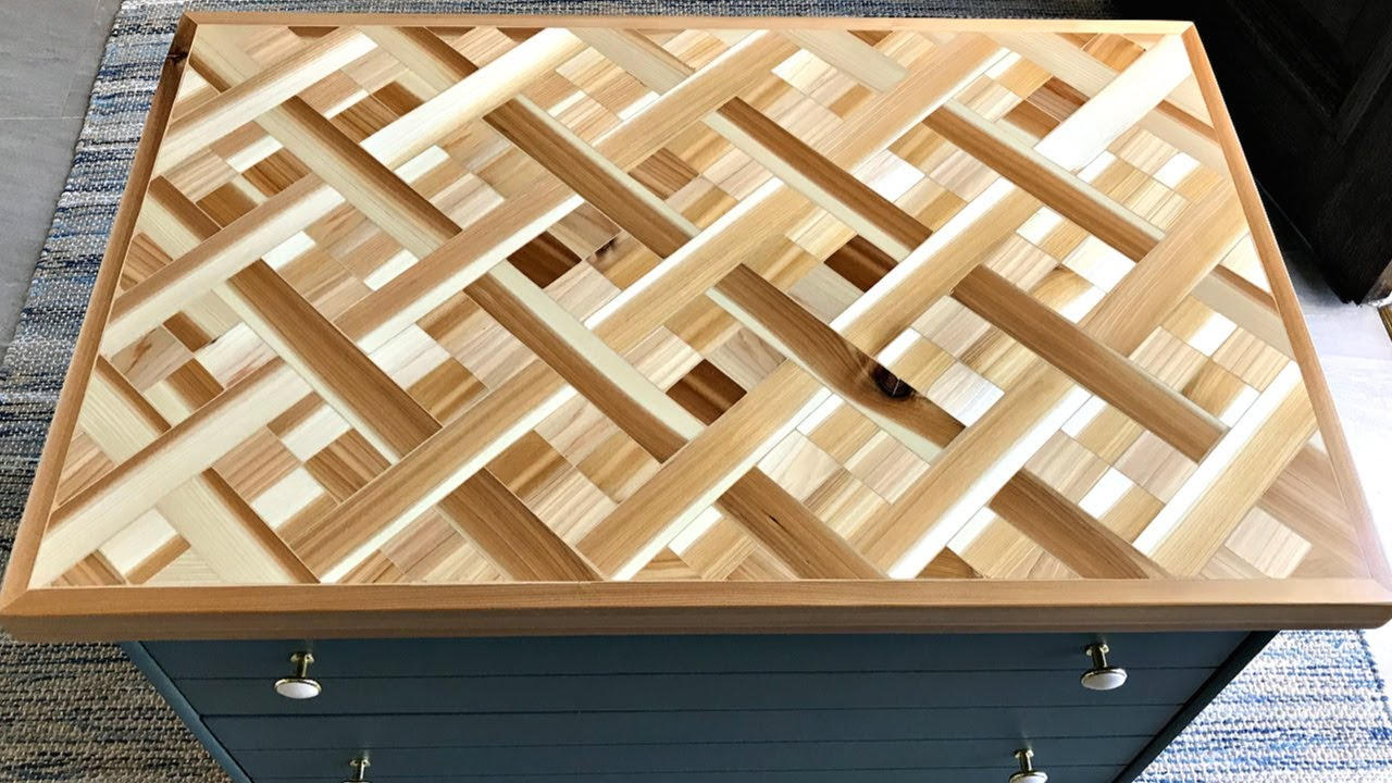 diy wood mosaic table top geometric wood art table top