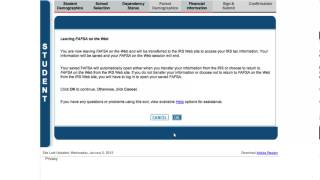 IRS Data Retrieval Tool - 2014-2015 FAFSA