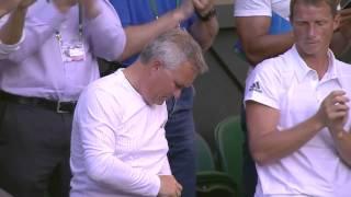 Caroline Wozniacki celebrates opening round win