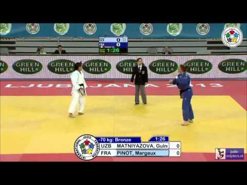 Judo 2013 World Championships Junior Ljubljana: Matniyazova (UZB) - Pinot (FRA) [-70kg] bronze