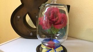 $3.00 Dollar Tree DIY - Beauty and the Beast Rose Cloche