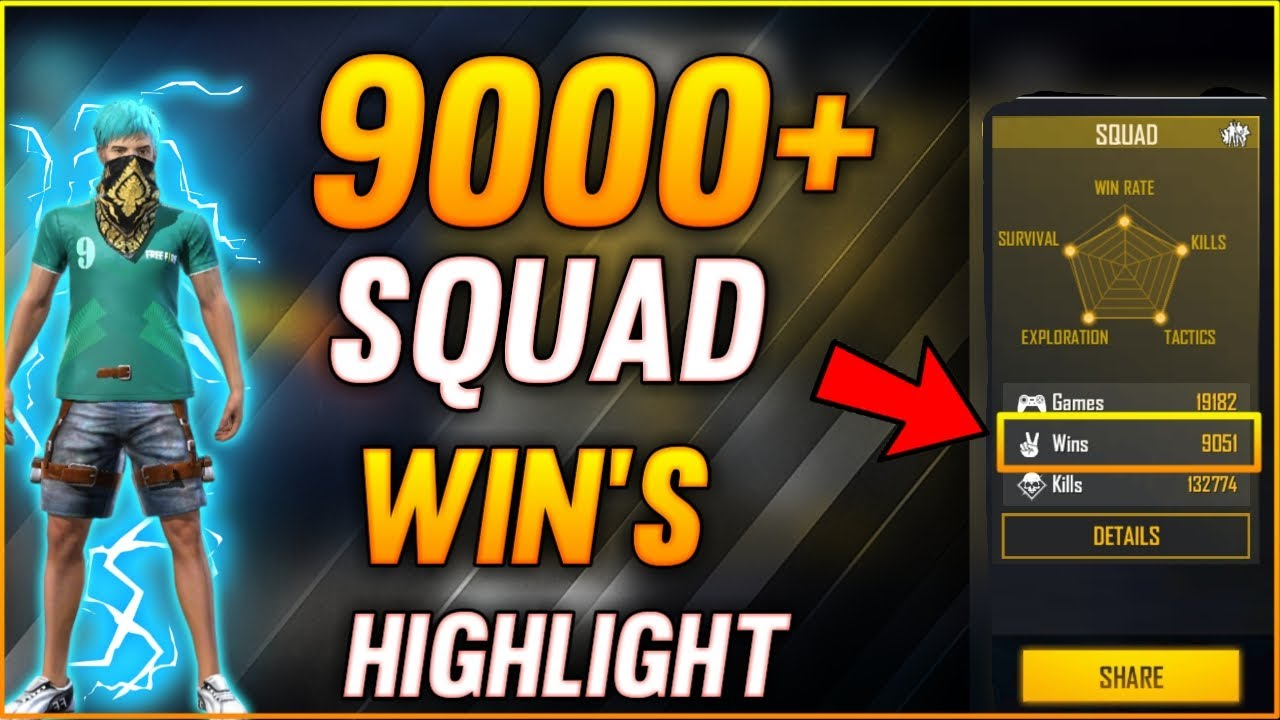Free fire 9000+ Squad Wins Highlight