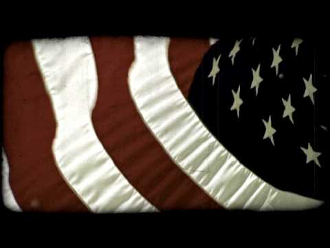 American Flag in wind. Vintage stylized video clip.