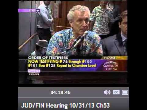 Excellent insight - 2013 Hawaii Legislature Special Session. Against testimony against SB1 and SSM.