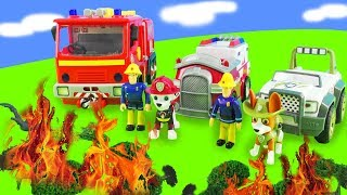 Paw Patrol and Fireman Sam in action: toy cars, fire brigade   Toys for children