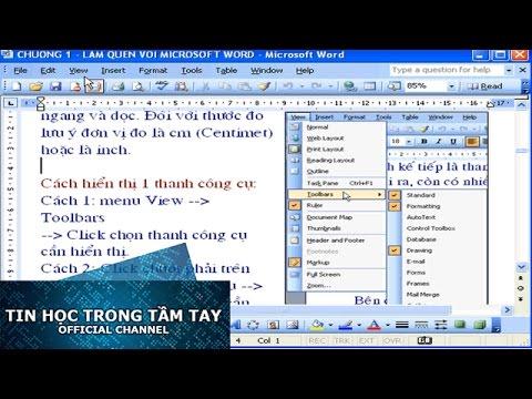 Word 2003 – Chương 1 – Hiển Thị Thanh Công Cụ