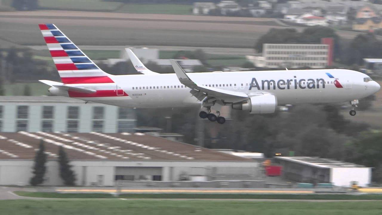 American Airlines Boeing 767-300 landing Zurich Airport ...