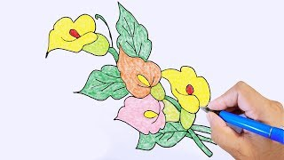How to Flower Draw // Easy flower Drawing fo kid // step by step Flower Draw