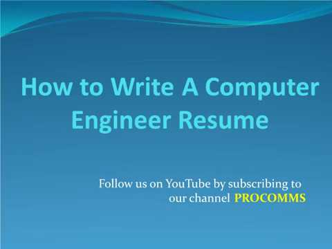 How To Write A Computer Engineering Resume Computer Engineering