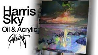 Oil on Acrylic Abstract Seascape Painting: Harris Sky