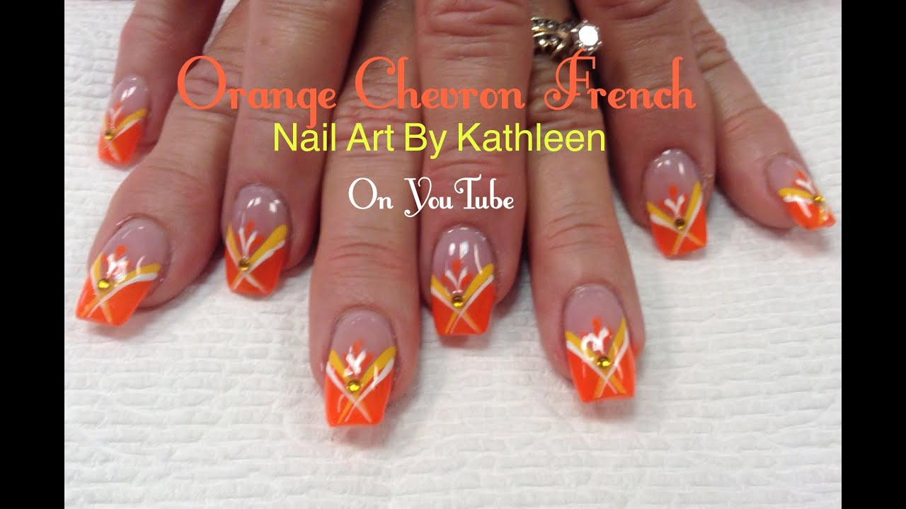 orange chevron french nail art