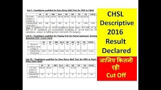 SSC CHSL 2016 Descriptive Result Declared । जानिए कितनी रही Cut Off ।