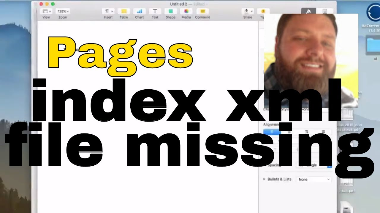 Pages index xml file missing error fix - YouTube