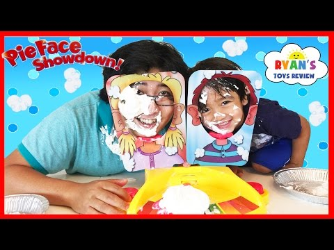 Thumbnail: PIE FACE SHOWDOWN CHALLENGE NEW Whipped Cream in the face Family Fun game for Kids Egg Surprise Toys