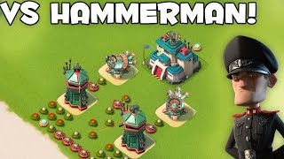 MAX SNIPER TOWER & SHOCK LAUNCHER vs HAMMERMAN | Boom Beach