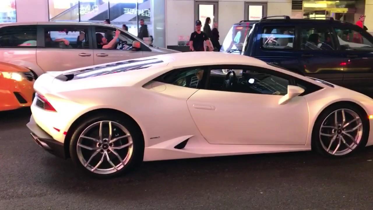Bike Jumps Over The Hood Of A Lamborghini In Times Square Youtube