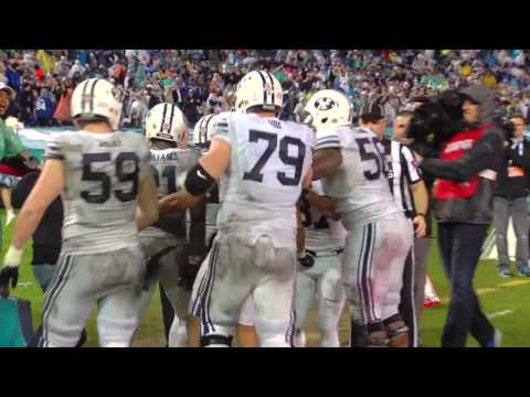 Reaction after BYU defeats Wyoming in the 2016 Poinsettia Bowl