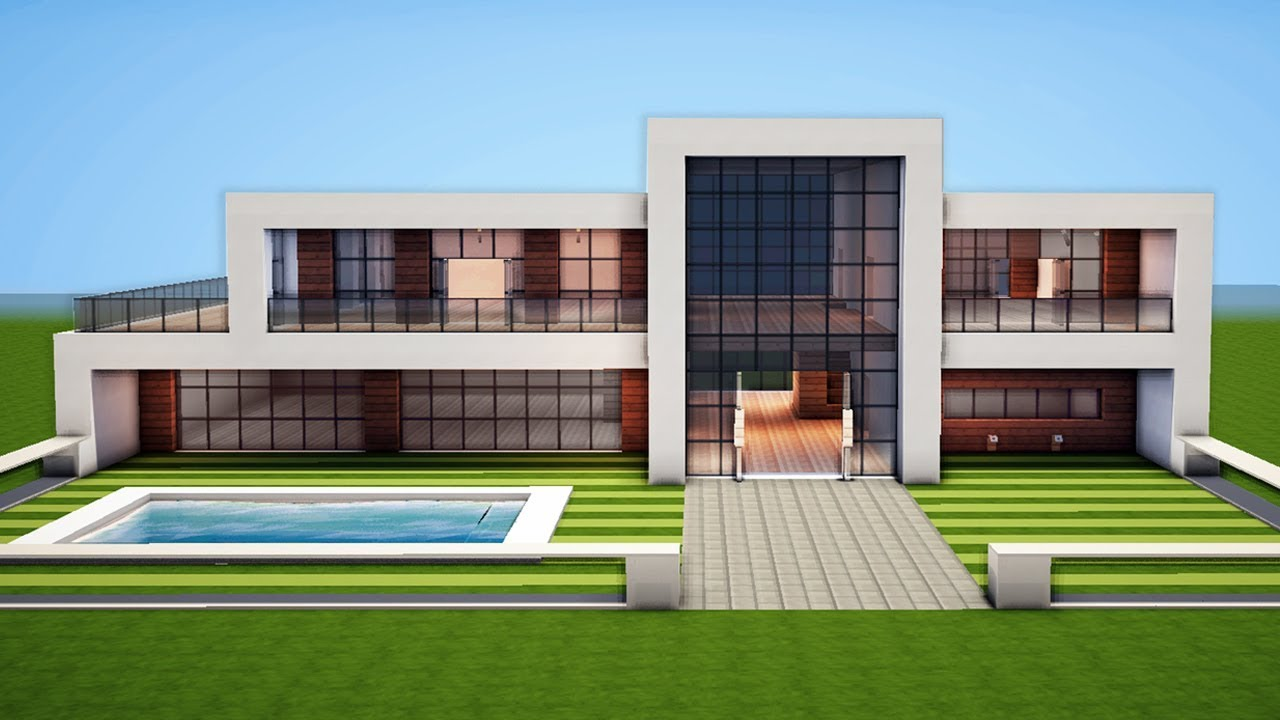 Minecraft how to build a modern house easy tutorial for Modern house mc
