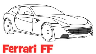 How to draw a car Ferrari FF step by step easy drawing for kids and beginners