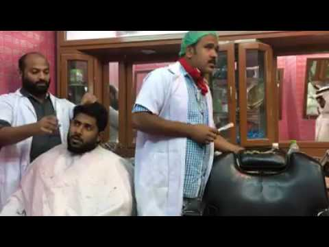 Kerala worker and Arab guy in saloon comedy