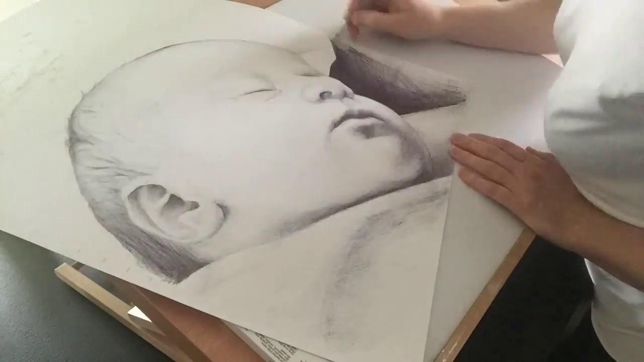 Portrait de bébé au stylo bille 2018