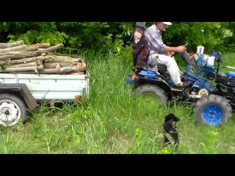 Самодельный минитрактор. Вывоз дров по бездорожью.