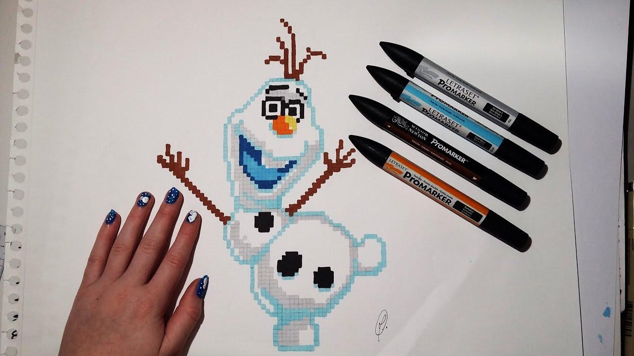 Olaf Drawing - Pixel Art (Frozen) Easy - YouTube