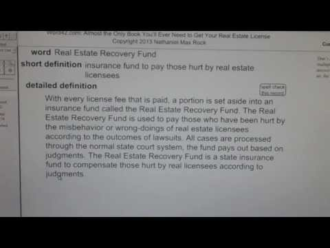 Real Estate Recovery Fund CA Real Estate License Exam Top Pass Words VocabUBee.com