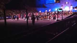 Royal Edinburgh Military Tattoo. August 3, 2013. Massed pipes and drums entrance.