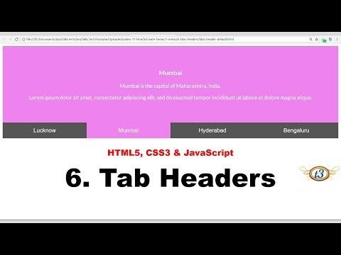 6. Tab Headers | Menu | HowToCreate Series | HTML5, CSS3 & JavaScript