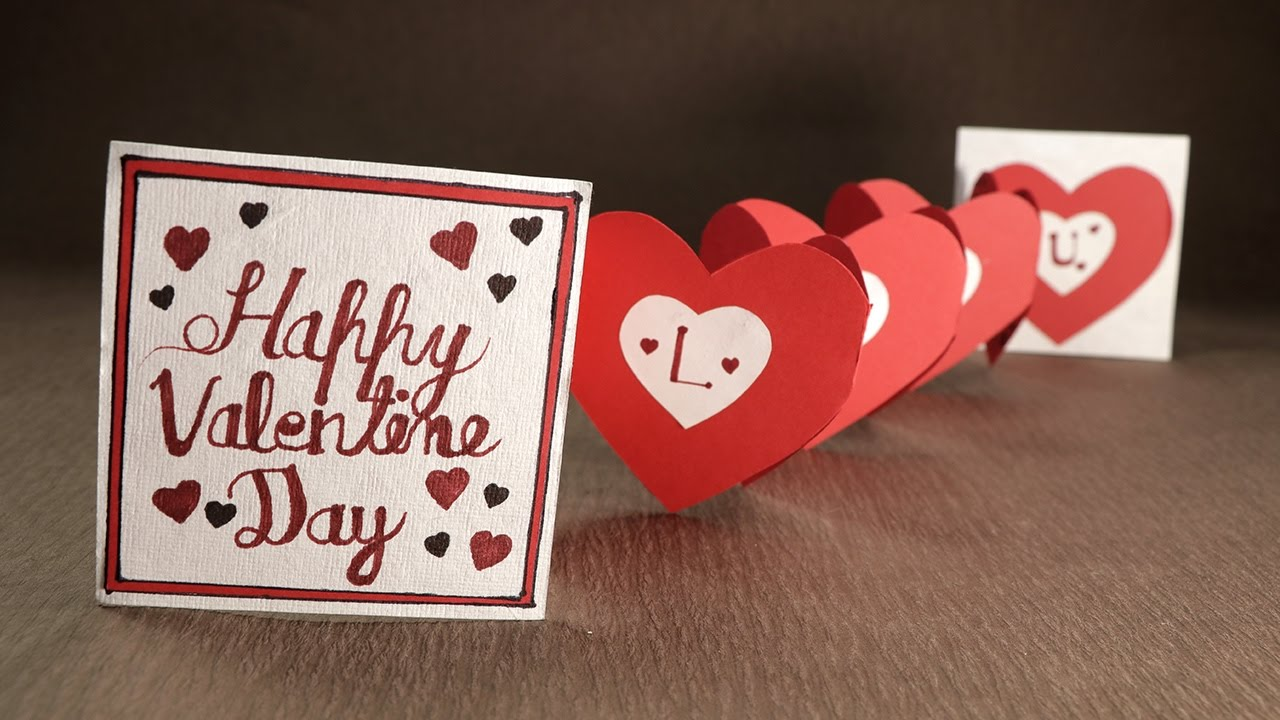 Handmade Valentine Card Accordion Heart Love Card for Valentines – Valentines Card Photos