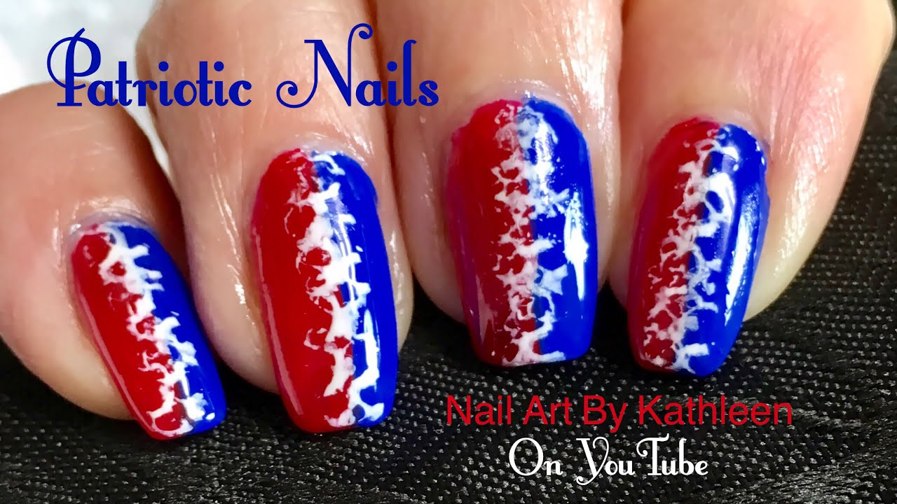 easy patriotic nail art - red, white, and blue nails - fourth of