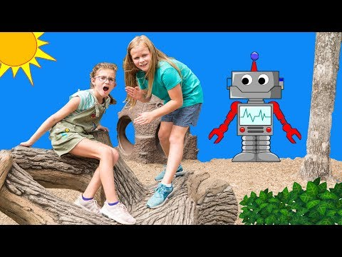 Assistant Pretend Play with a fun Robot Play Date at the Park with Crystal