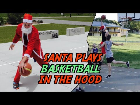 SANTA PLAYS BASKETBALL IN THE HOOD!