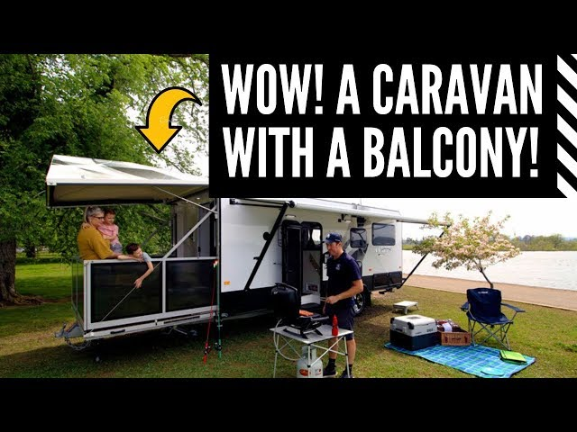 This caravan has a balcony!