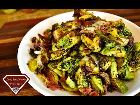 ROASTED BRUSSEL SPROUTS WITH BACON & BALSAMIC REDUCTION | Holiday Series | Cooking With Carolyn