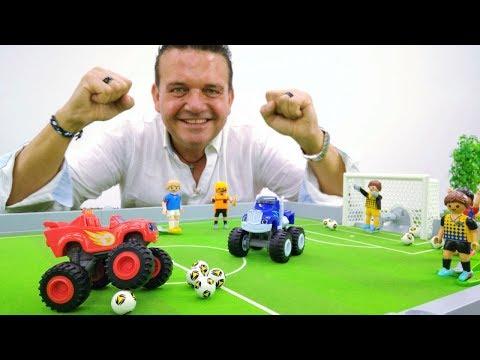 ¡Los Monster Machines juegan al fútbol! Camiones Monstruos