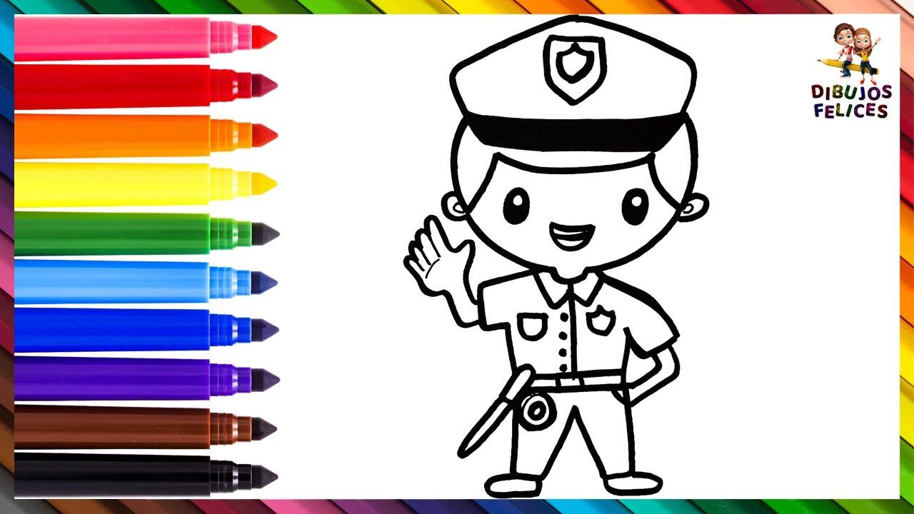 Dibuja y Colorea A Un Policía Con Sus Complementos 👮⭐ Dibujos Para Niños