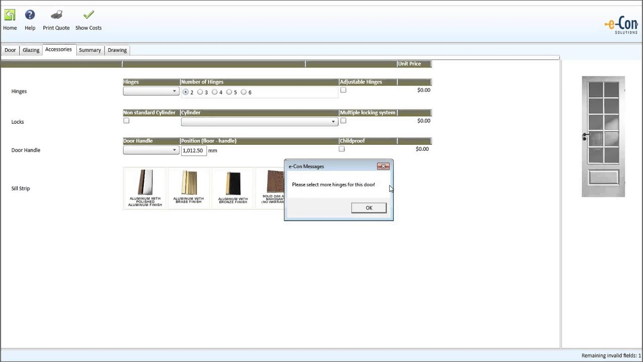 Windows and doors configuration with the e-Con configurator