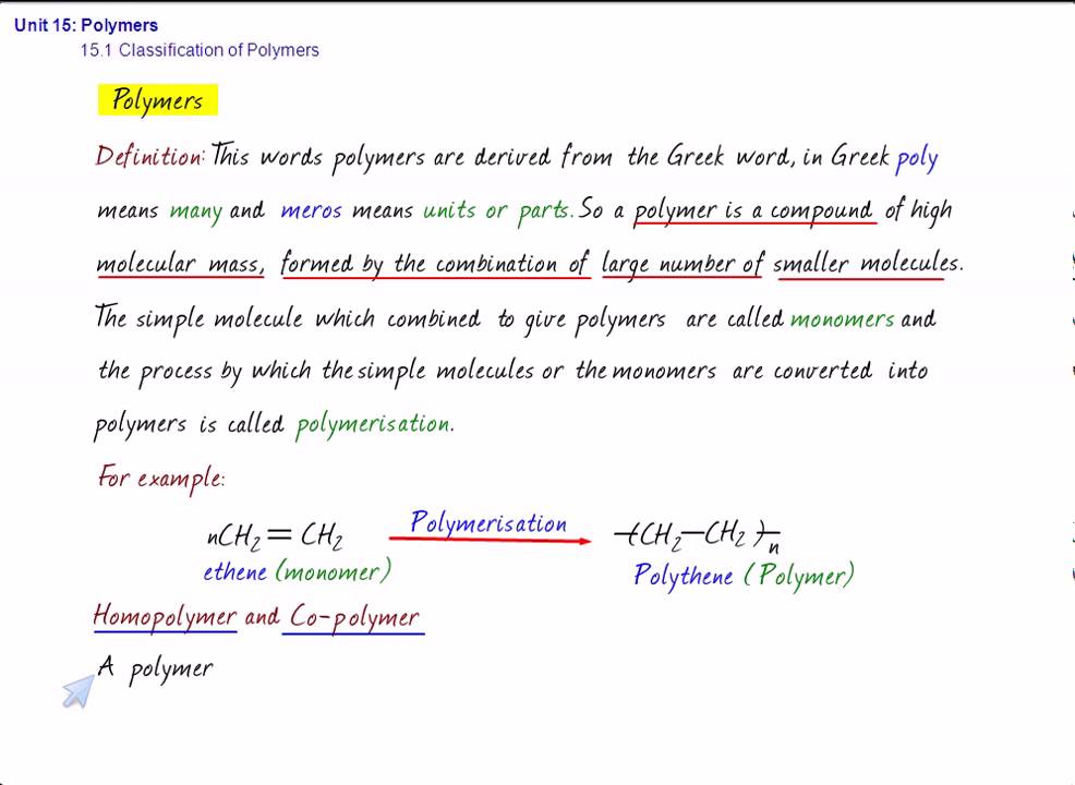 cbse chemistry polymers classification of polymers