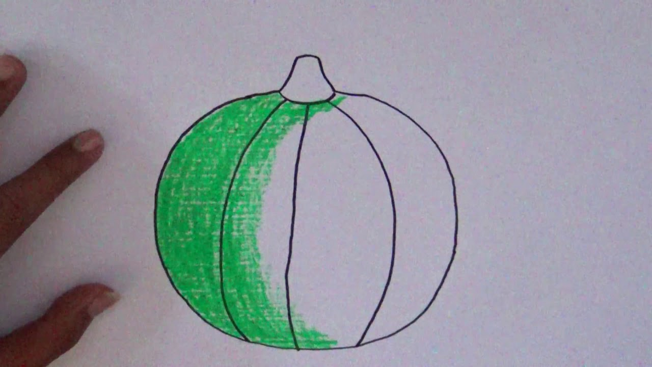 cara menggambar dan mewarnai buah melon how to draw and