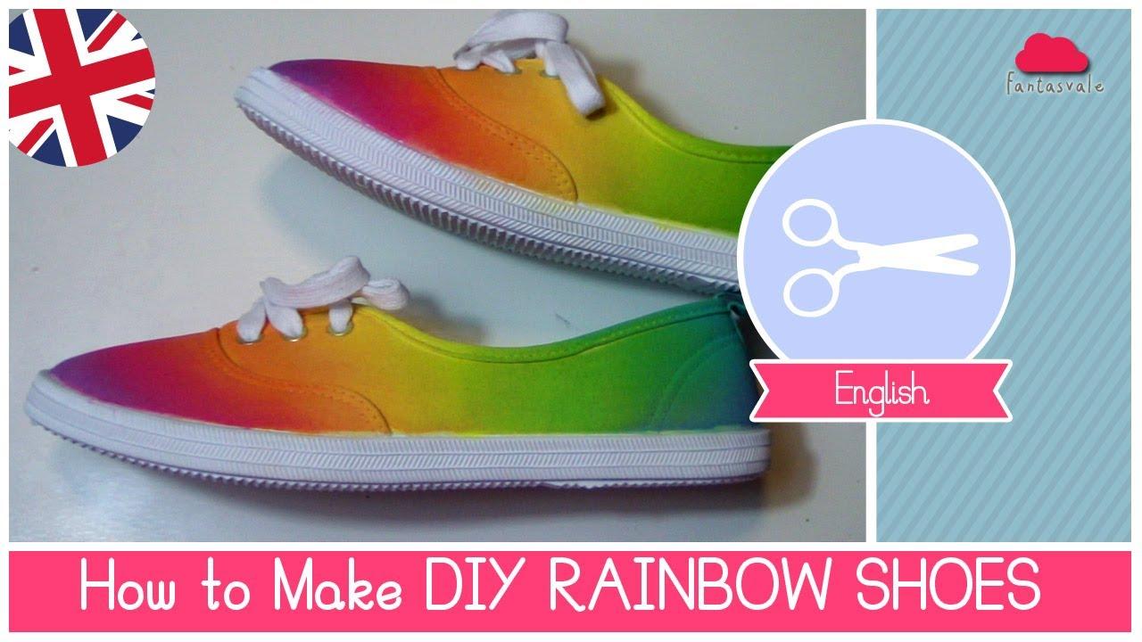 5825eed25119 DIY Rainbow SHOES (no dip tie-dye) EASY METHOD by Fantasvale - YouTube