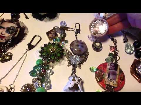 Art I make assemblage pendants and charms