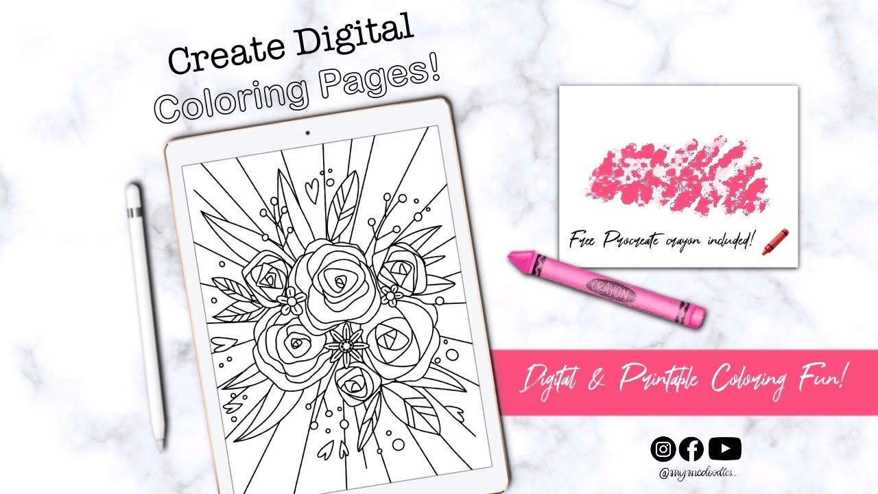 Create Digital Coloring Pages in Procreate! BONUS: FREE ...