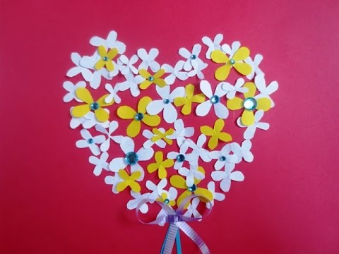 DIY Valentine\'s Day Card | wall decor - Flower Heart - Valentine ...