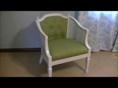 Updating and Upholstering a Cane Back Chair on a Budget