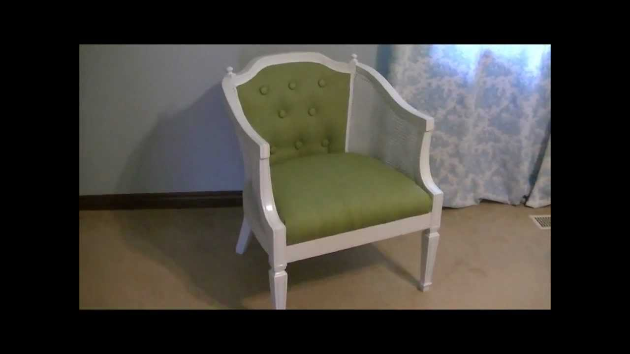 how to replace cane back chair with fabric desk wheels updating and upholstering a on budget youtube